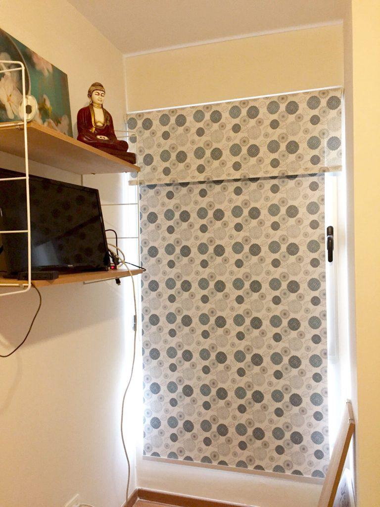 cortina roller doble, roller screen + roller black out, impresa estampada