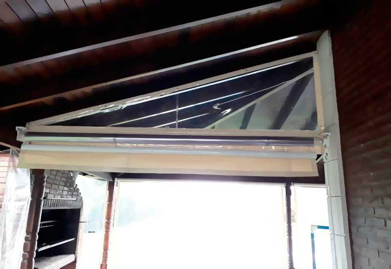 toldo enrollable pvc cristal detalle interior galería