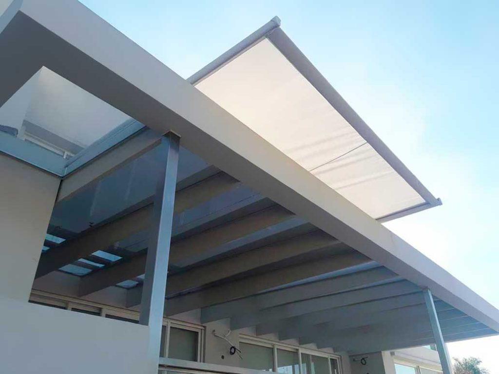 instalaciondo toldo techo cristal vidriado giotto vidrio galeria lona sunworker microperforada