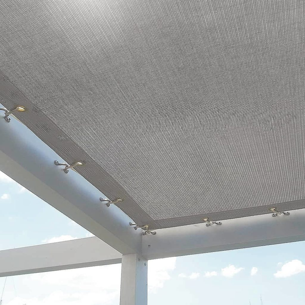 pergola aluminio lona microperforada sunworker gris