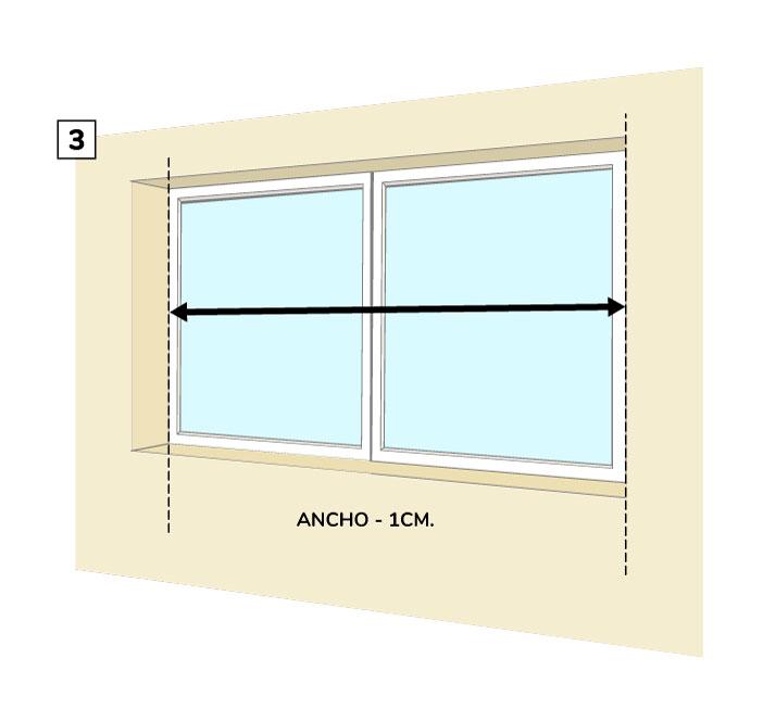 Paso Tes- Medir el ancho de la cortina roller entre paredes.